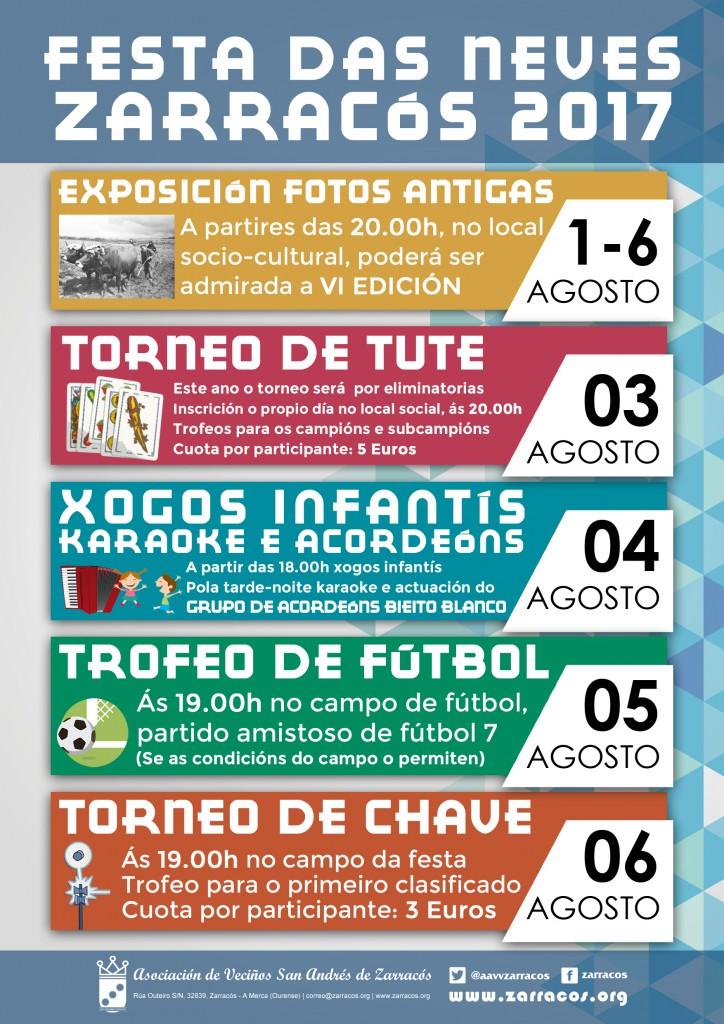 Actividades festa das Neves Zarracós 2017