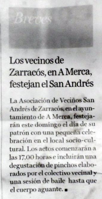O diario La Región faise eco da festa do San Andrés 2014