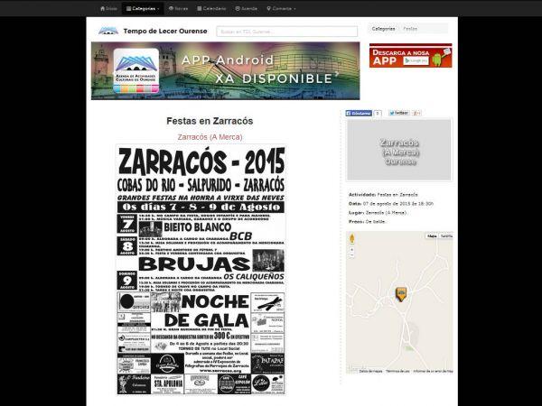A revista dixital Tempo de Lecer Ourense inclúe na súa axenda as festas de Zarracós 2015