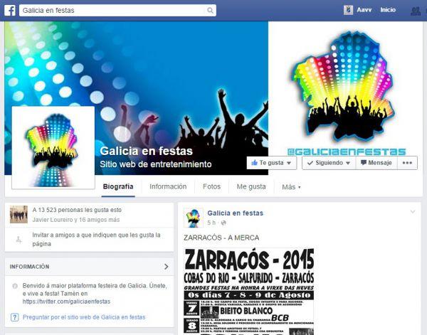 A páxina de Facebook -Galicia en festas- publica hoxe o cartel das festas de Zarracós 2015