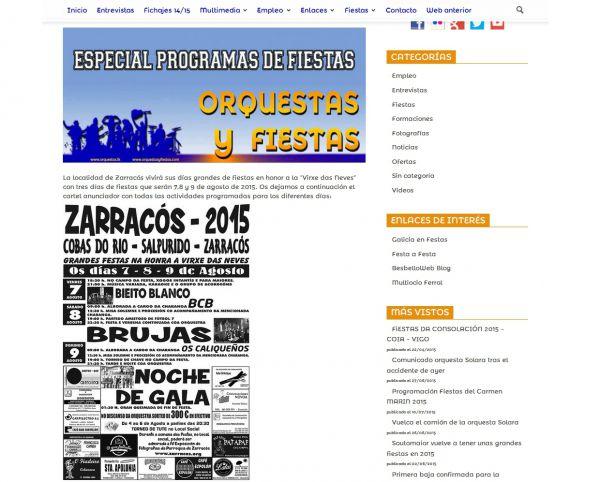 www.orquestasyfiestas.com  publica hoxe o programa das festas da parroquia de Zarracós 2015