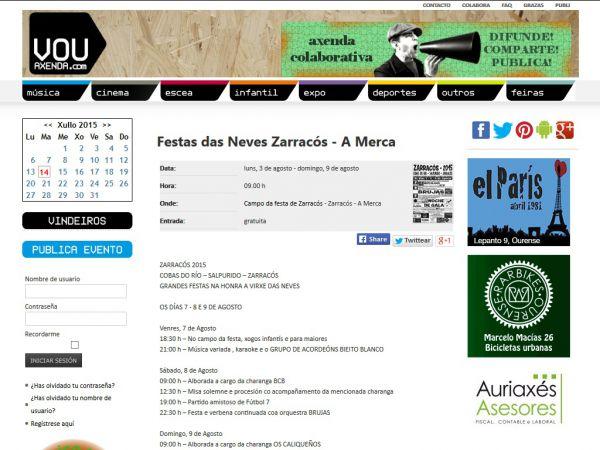 As festas 2015 da parroquia de Zarracós xa están na ferramenta VOU! Axenda.com