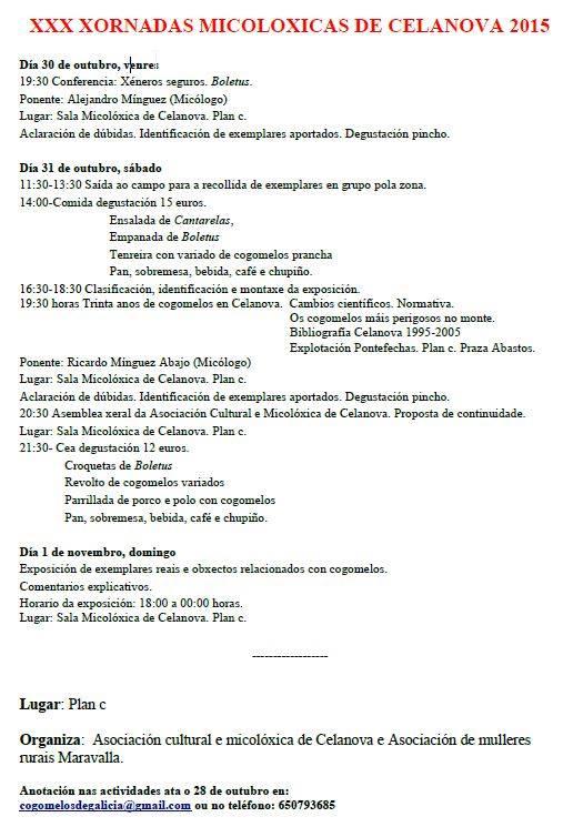 XXX Xornadas Micolóxicas Celanova 2015